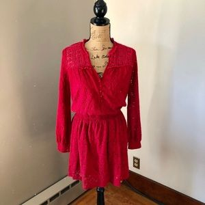ANTHROPOLOGIE LEIFNOTES M RED LACE SKATER …